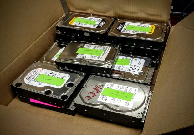 box of HDDs
